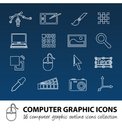 Computer graphics outline icons vector