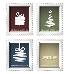Collection of old christmas postage stamps vector