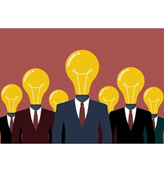 Businessmen with a light bulb head vector