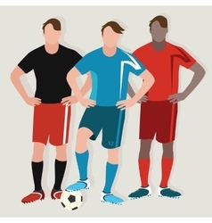 Soccer man team play football standing player ball vector