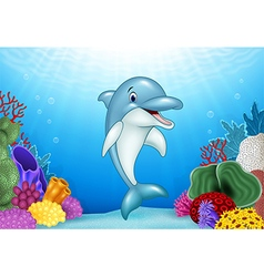 Cute dolphin with beautiful underwater world vector