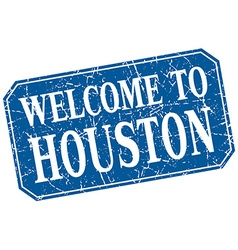 Welcome to houston blue square grunge stamp vector