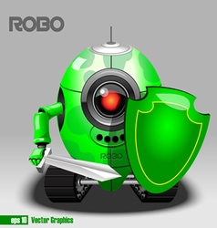 3d green robo eyeborg warrior with a swos robo war vector