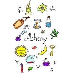 Alchemy symbols colored vector