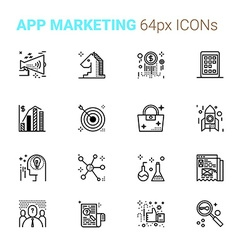 App marketing pixel perfect icons vector