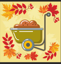 autumn agricultural icons with autumn leaves 6 vector image vector image