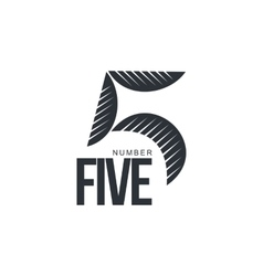 Black and white sketch style number five logo vector