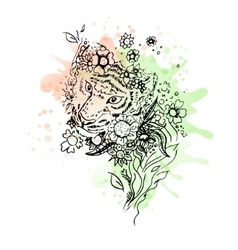 Black and white wild animal tiger head abstract vector