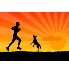 black silhouette of man with dog vector image vector image
