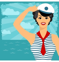 Card with beautiful pin up sailor girl 1950s style vector