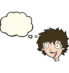 cartoon crazy excited woman with thought bubble vector image vector image