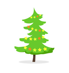 Cartoon fir tree in xmas holiday concept vector