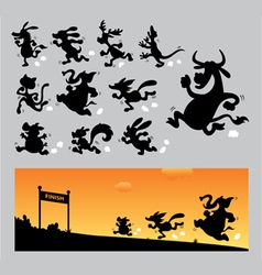Cartoon Running Silhouettes vector image vector image