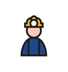 coal miner icon on white background vector image vector image