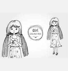 cute girl long hair hand drawn style vector image