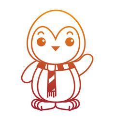 Cute penguin with christmas scarf kawaii vector
