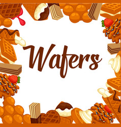 delicious crispy wafers with delicious fillings vector image