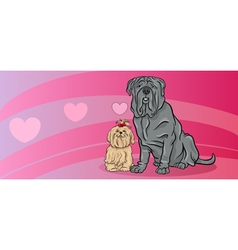 Dogs in love valentine card vector