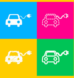 Eco electric car sign four styles of icon on four vector