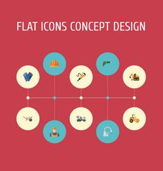 Flat icons handcart hardhat tractor vector