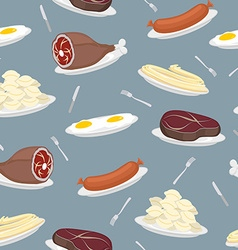 Food seamless pattern Sausage and dumplings Ham vector image