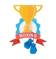 gold cup with boxing gloves vector image vector image