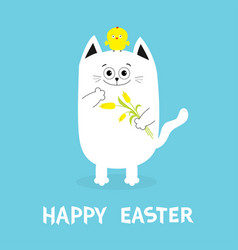 Happy easter greeting card cat holding yellow vector