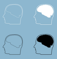 head with brain the black and white color icon vector image vector image