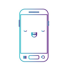 Kawaii smartphone icon in degraded blue to purple vector