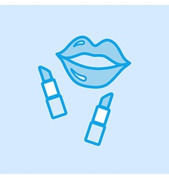 Lips and Lipstick Icon Simple Blue vector image vector image