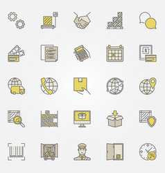 Logistic colorful icons collection vector