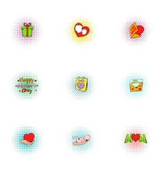 Love of mother icons set pop-art style vector