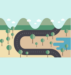 Map road cross the mountains vector