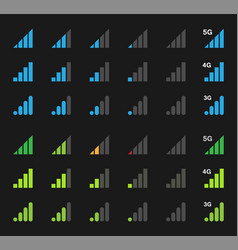 mobile signal icons signal strength indicator vector image vector image