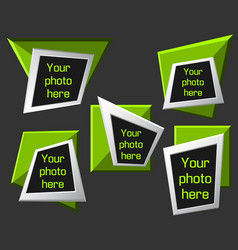 Modern origami geometric lime 3d frames on dark vector