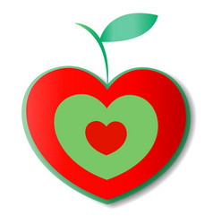 Natural apple logo heart vector