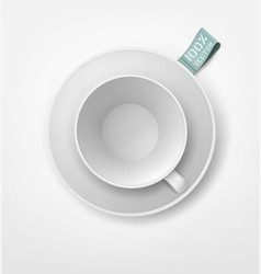 object white mug and saucer isolation on the vector image