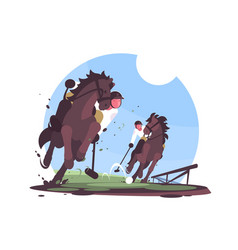 Players playing polo on green field vector