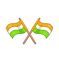 Two crossed flags of india icon cartoon style vector