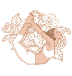 Women silhouette bow yoga pose dhanurasana vector