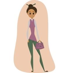 Young girl whith a handbag vector image