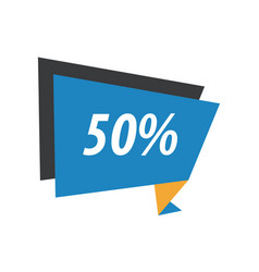Fifty percent label origami blue yellow black vector