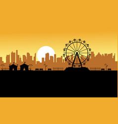 Silhouette amusement park scenery for kid vector