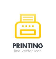 Printer icon on white line style vector