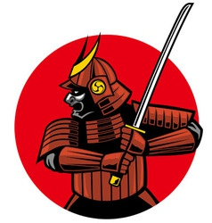 Samurai warrior mascot vector image