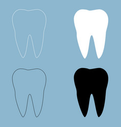 Tooth the black and white color icon vector
