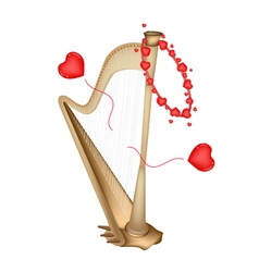 A beautiful golden harp playing love song vector