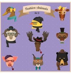 Fashion Hipster Animals set 5 vector image