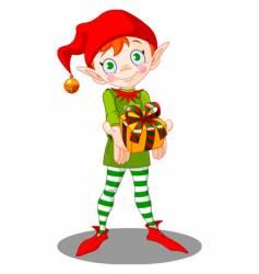 Christmas elf gift vector image