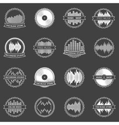 Music emblems or badges set vector